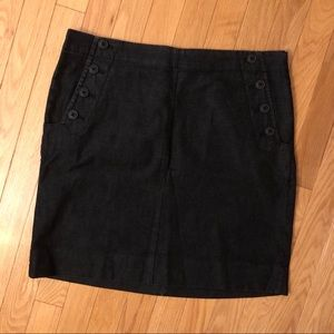 GAP Black Fitted Skirt with Buttons